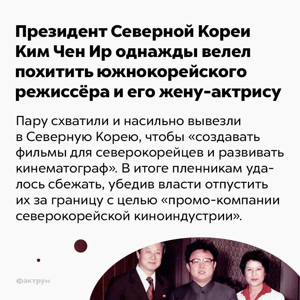 Президент Северной Кореи Ким Чен Ир однажды велел похитить южнокорейского режиссёра иего жену-актрису. Пару схватили и насильно вывезли в Северную Корею, чтобы «создавать фильмы для северокорейцев и развивать кинематограф». В итоге пленникам удалось сбежать, убедив власти отпустить их за границу с целью «промо компании северокорейской киноиндустрии».