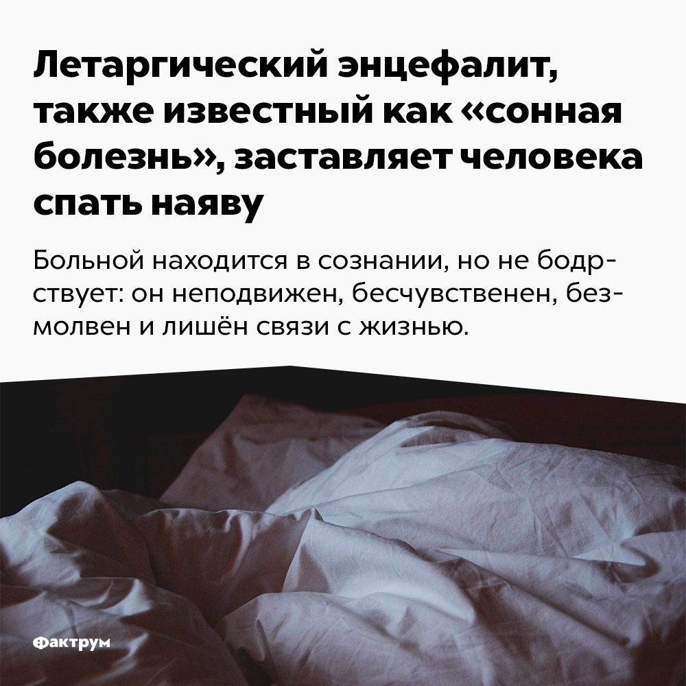 Летаргический энцефалит, также известный как «сонная болезнь», заставляет человека спать наяву. Больной находится в сознании, но не бодрствует: он неподвижен, бесчувственен, безмолвен и лишён связи с жизнью.
