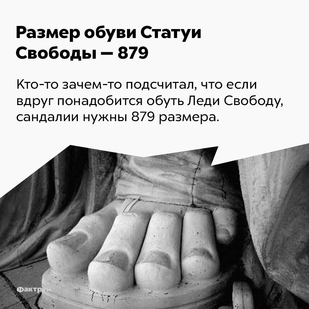 Размер обуви Статуи Свободы — 879. Кто-то зачем-то подсчитал, что если вдруг понадобится обуть Леди Свободу, сандалии нужны 879 размера.