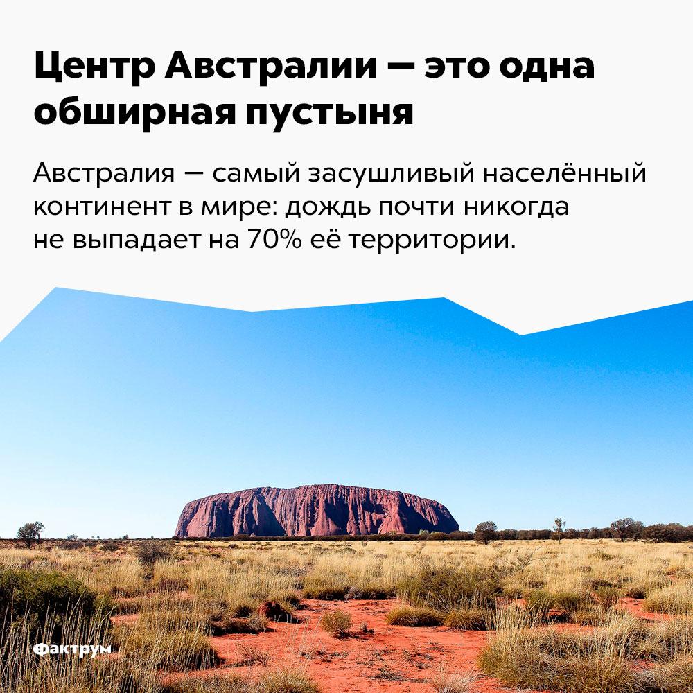 Центр Австралии — это обширная пустыня. Австралия — самый засушливый континент в мире: дождь почти никогда не выпадает на 70% её территории.