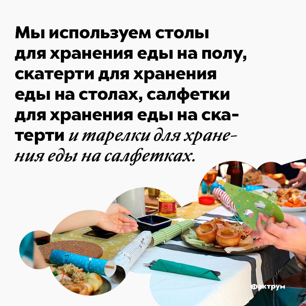 Мы используем столы для хранения еды наполу, скатерти для хранения еды настолах, салфетки для хранения еды наскатерти итарелки для хранения еды насалфетках. Мы используем столы для хранения еды на полу, скатерти для хранения еды на столах, салфетки для хранения еды на скатерти и тарелки для хранения еды на салфетках.