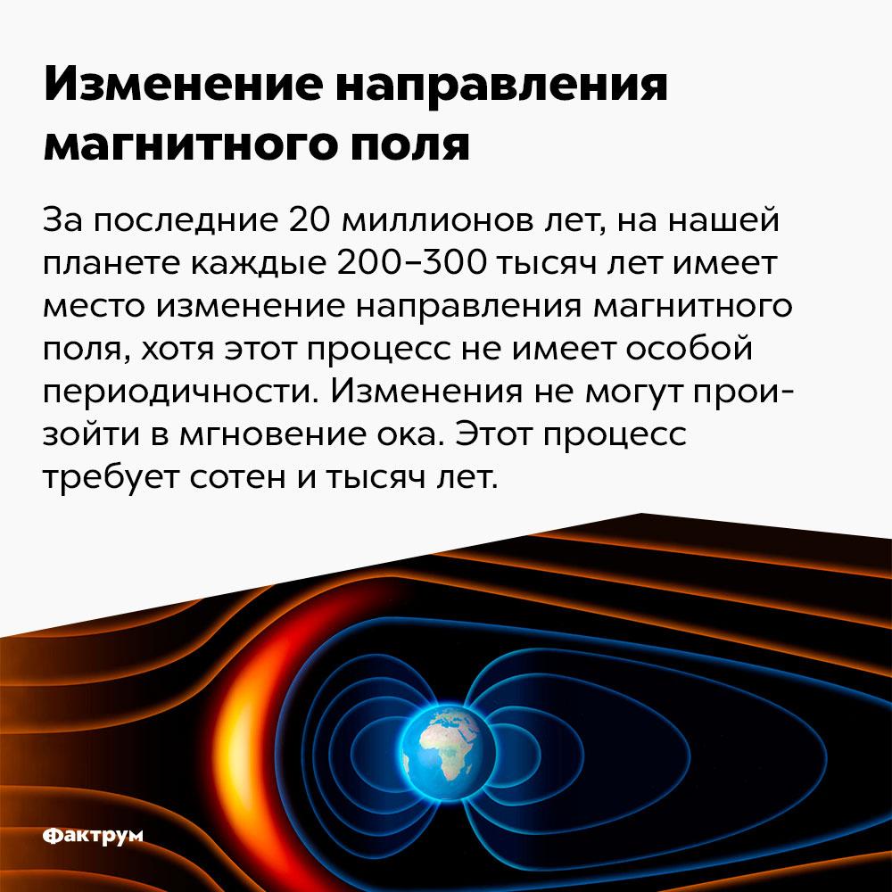 Магнитное поле Земли изменяется каждые 200-300 тысяч лет. За последние 20 млн лет на нашей планете каждые 200-300 тысяч лет имеет место изменение направления магнитного поля, хотя этот процесс не имеет строгой периодичности. Изменения не могут произойти во мгновение ока. Этот процесс требует сотен и тысяч лет.