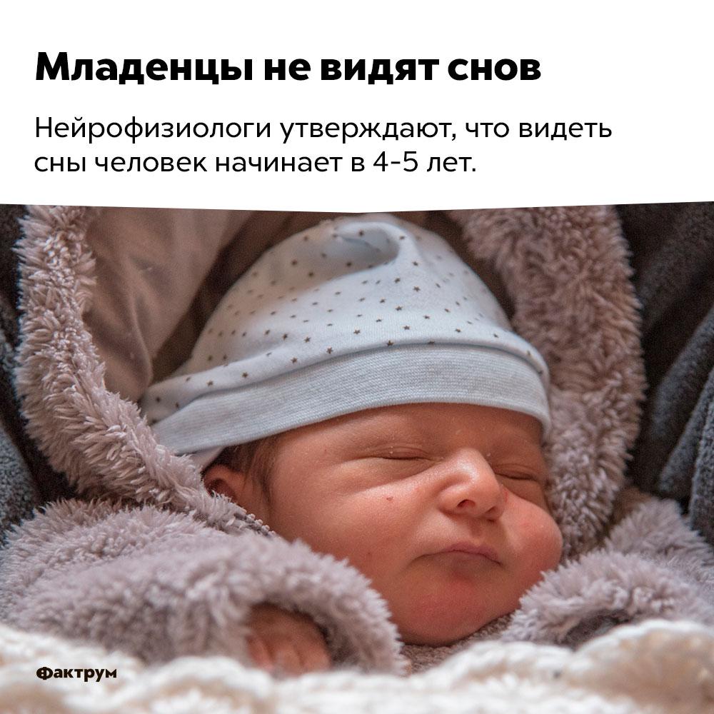 Младенцы невидят снов. Нейрофизиологи утверждают, что видеть сны человек начинает в 4-5 лет.