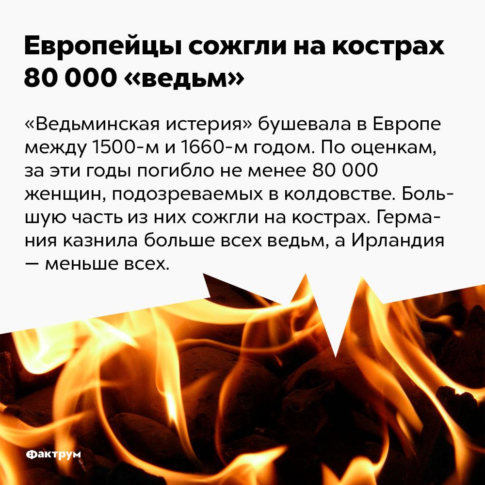 Европейцы сожгли накострах 80000 «ведьм». «Ведьминская истерия» бушевала в Европе между 1500-м и 1660-м годом. По оценкам, за эти годы погибло не менее 80 000 тысяч женщин, подозреваемых в колдовстве. Германия казнила больше всех «ведьм», а Ирландия — меньше всех.