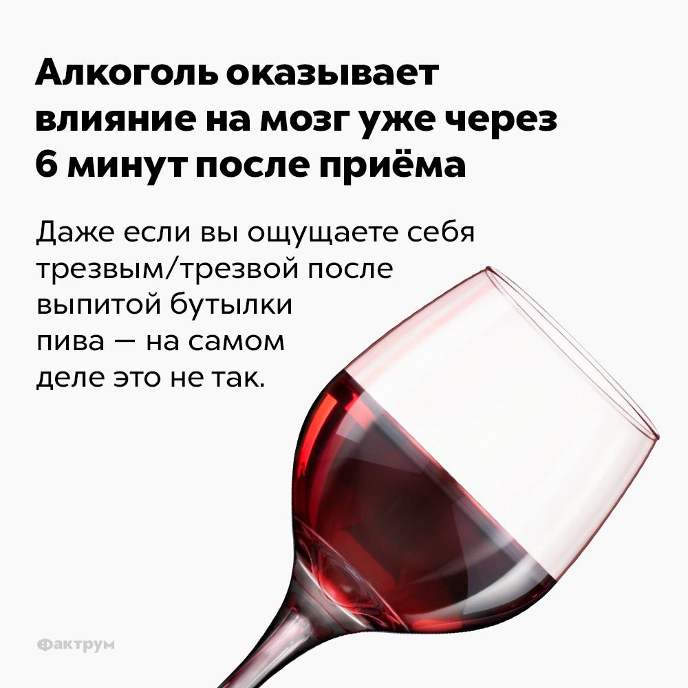Алкоголь оказывает влияние намозг уже через 6минут после приёма. Даже если вы ощущаете себя трезвым/трезвой после выпитой бутылки пива — на самом деле это не так.