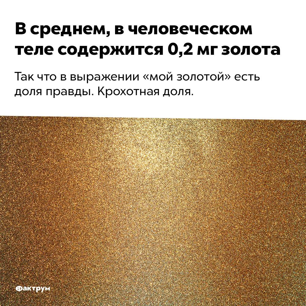 Всреднем, вчеловеческом теле содержится 0,2мг золота. Так что в выражении «мой золотой» есть доля правды. Крохотная доля.