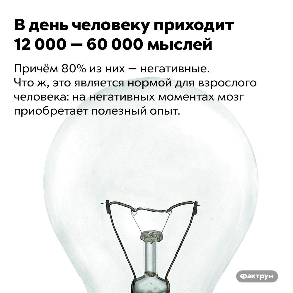 Вдень человеку приходит 12000 — 60000 мыслей. Причём 80% из них — негативные. Что ж, это является нормой для взрослого человека: на негативных моментах мозг приобретает полезный опыт.