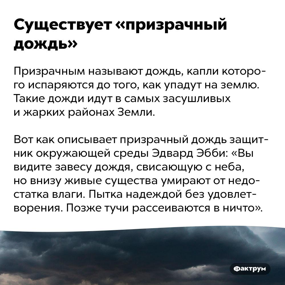 Существует «призрачный дождь». Призрачным называют дождь, капли которого испаряются до того, как упадут на землю. Такие дожди идут в самых засушливых и жарких районах Земли. Вот как описывает призрачный дождь защитник окружающей среды Эдвард Эбби: «Вы видите завесу дождя, свисающую с неба, но внизу живые существа умирают от недостатка влаги. Пытка надеждой без удовлетворения. Позже тучи рассеиваются в ничто».