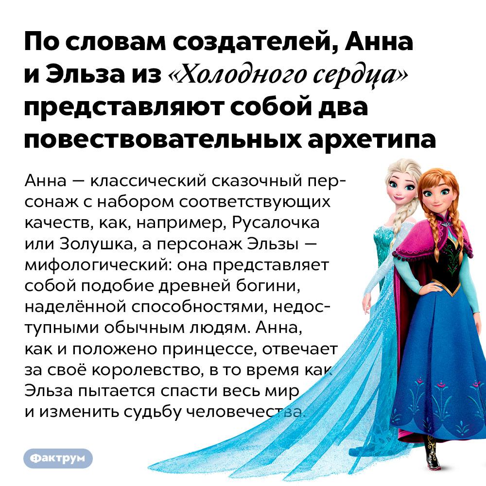 Пословам создателей, Анна иЭльза из«Холодного сердца» представляют собой два повествовательных архетипа. Анна — классический сказочный персонаж с набором соответствующих качеств, как, например, Русалочка или Золушка, а персонаж Эльзы — мифологический: она представляет собой подобие древней богини, наделённой способностями, недоступными обычным людям. Анна, как и положено принцессе, отвечает за своё королевство, в то время как Эльза пытается спасти весь мир и изменить судьбу человечества.