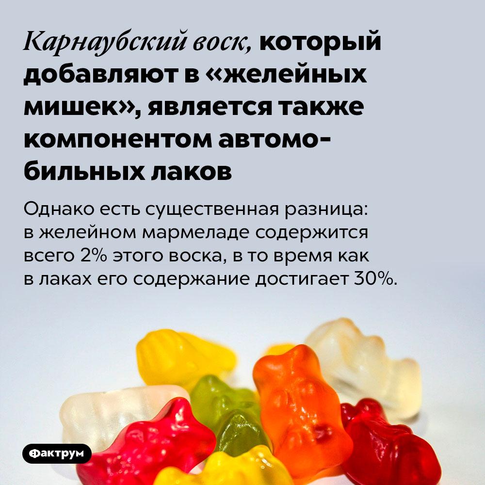 Карнаубский воск, который добавляют в«желейных мишек», является также компонентом автомобильных лаков. Однако есть существенная разница: в желейном мармеладе содержится всего 2% этого воска, в то время как в лаках его содержание достигает 30%.