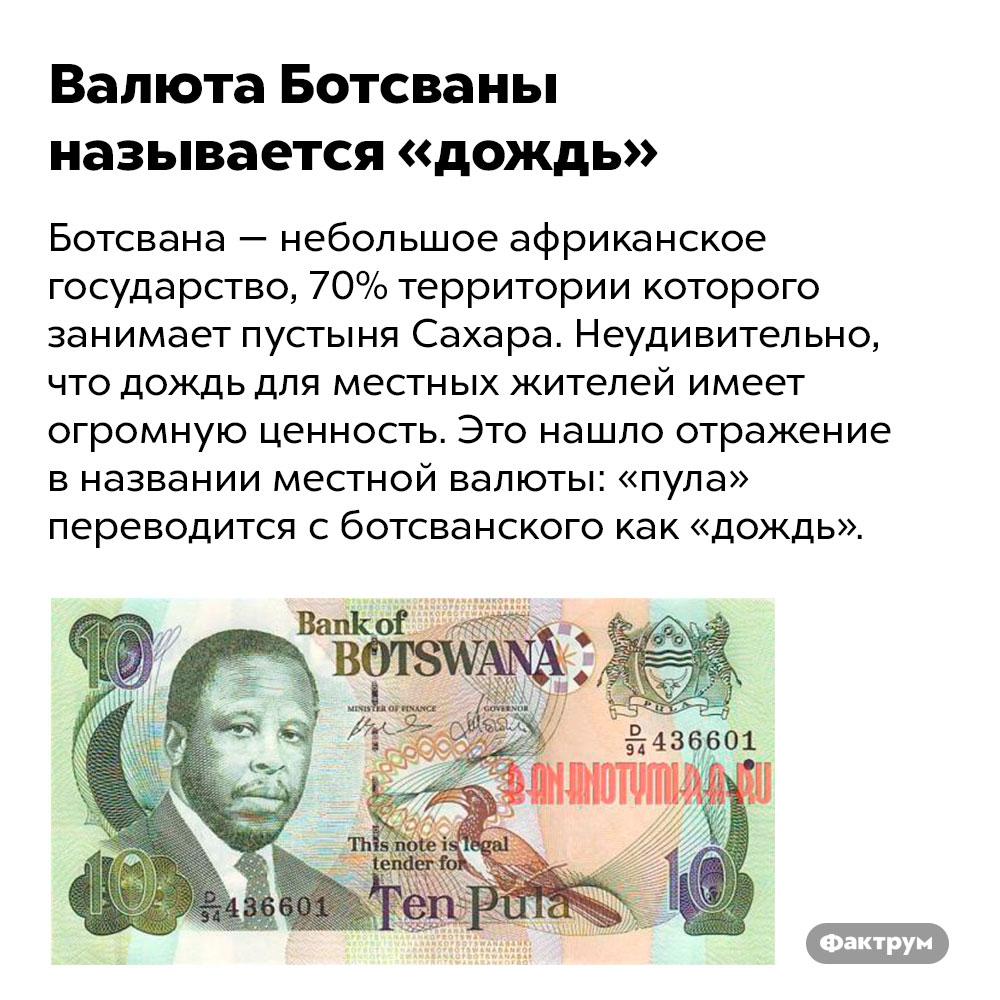 Валюта Ботсваны называется «дождь». Ботсвана — небольшое африканское государство, 70% территории которого занимает пустыня Сахара. Неудивительно, что дождь для местных жителей имеет огромную ценность. Это нашло отражение в названии местной валюты: «пула» переводится с ботсванского как «дождь».