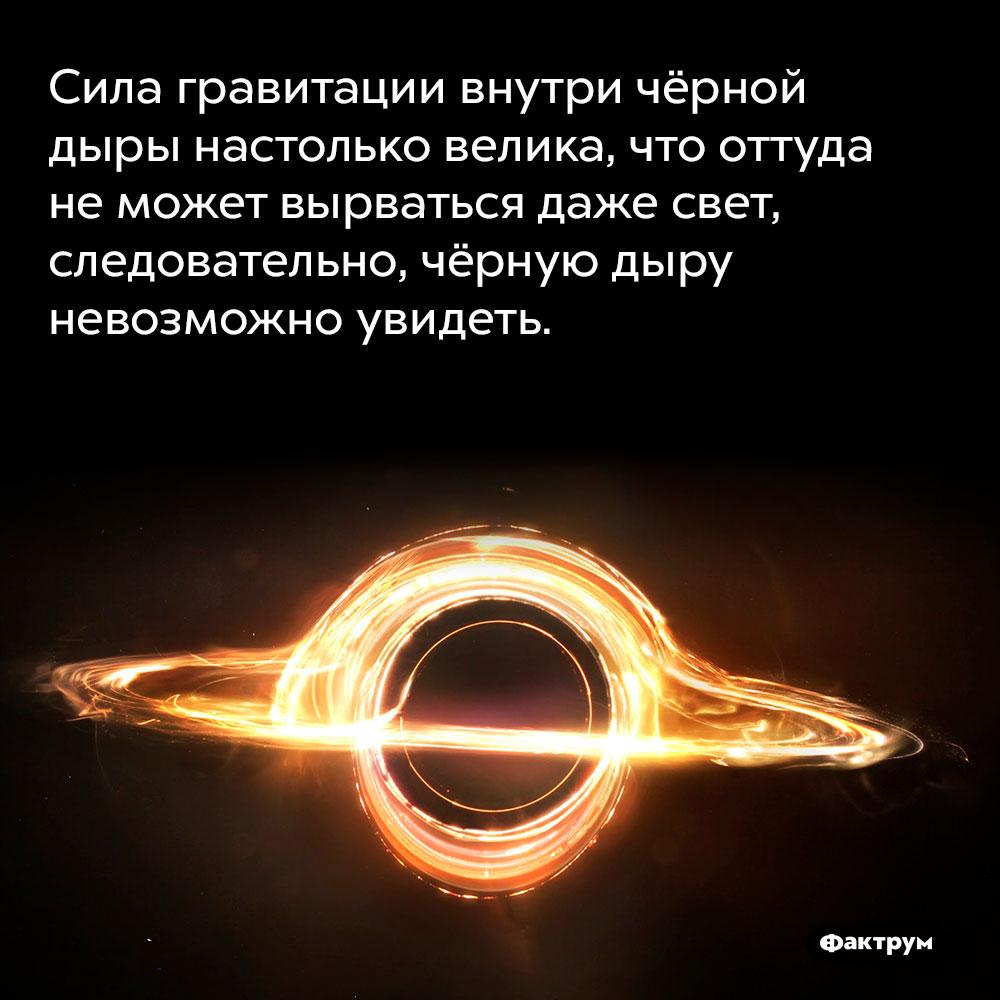 Сила гравитации внутри чёрной дыры настолько велика, что оттуда неможет вырваться даже свет. Следовательно, чёрную дыру невозможно увидеть.