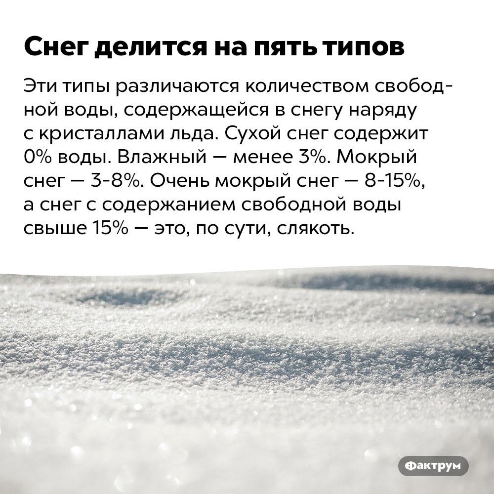 Снег делится напять типов. Эти типы различаются количеством свободной воды, содержащейся в снегу наряду с кристаллами льда. Сухой снег содержи 0% воды. Влажный — менее 3%. Мокрый снег — 3-8%. Очень мокрый снег — 8-15%, а снег с содержанием свободной воды свыше 15% — это, по сути, слякоть.