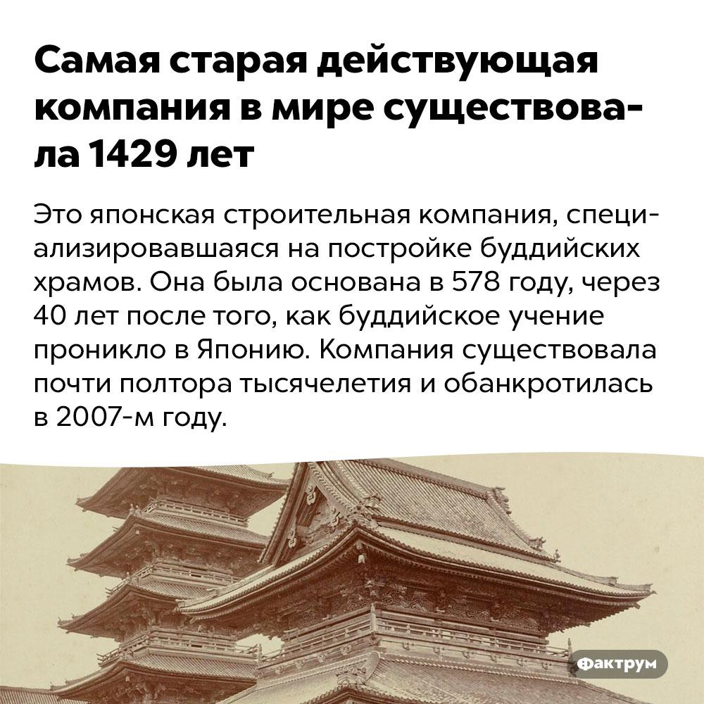 Самая старая действующая компания вмире существовала 1429лет. Это японская строительная компания, специализировавшаяся на постройке буддистских храмов. Она была основана в 578 году, через 40 лет после того, как буддизм проник в Японию. Компания существовала почти полтора тысячелетия и обанкротилась в 2007 году.