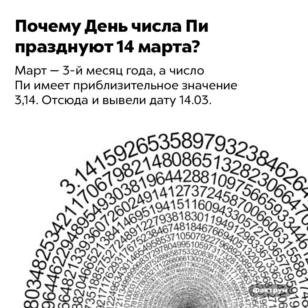 Почему День числа Пи празднуют 14марта?. Март — 3-й месяц года, а число Пи имеет приблизительное значение 3,14. Отсюда и вывели дату 14.03.