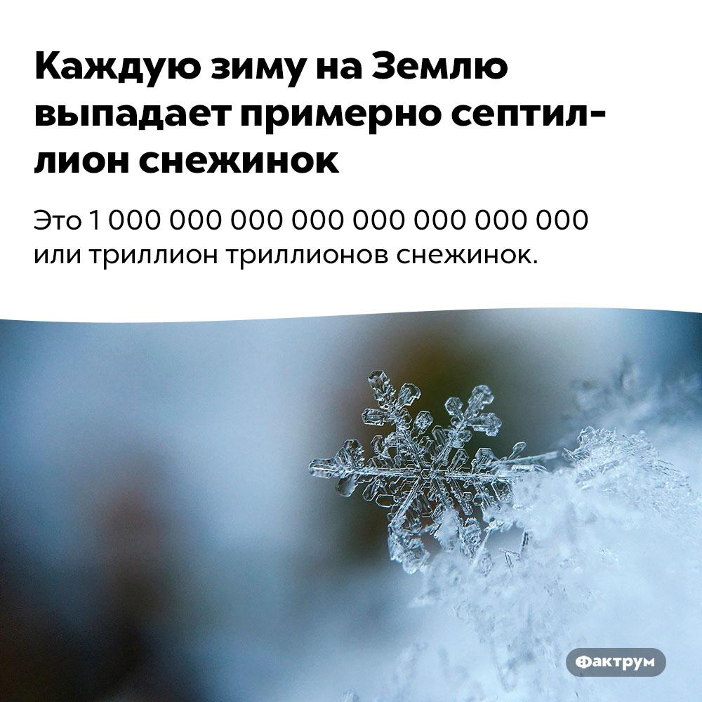 Каждую зиму наЗемлю выпадает примерно септиллион снежинок. Это 1 000 000 000 000 000 000 000 000 или триллион триллионов снежинок.