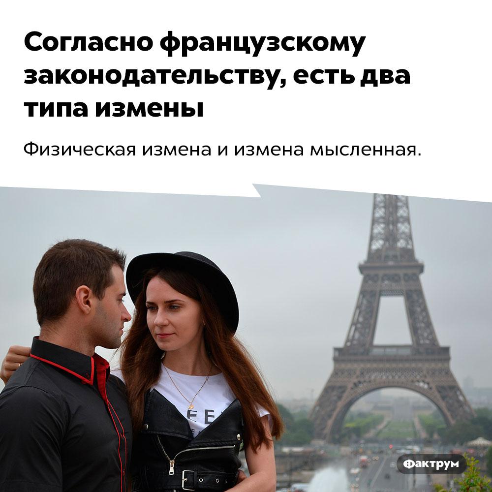 Согласно французскому законодательству, есть два типа измены. Физическая измена и измена мысленная.