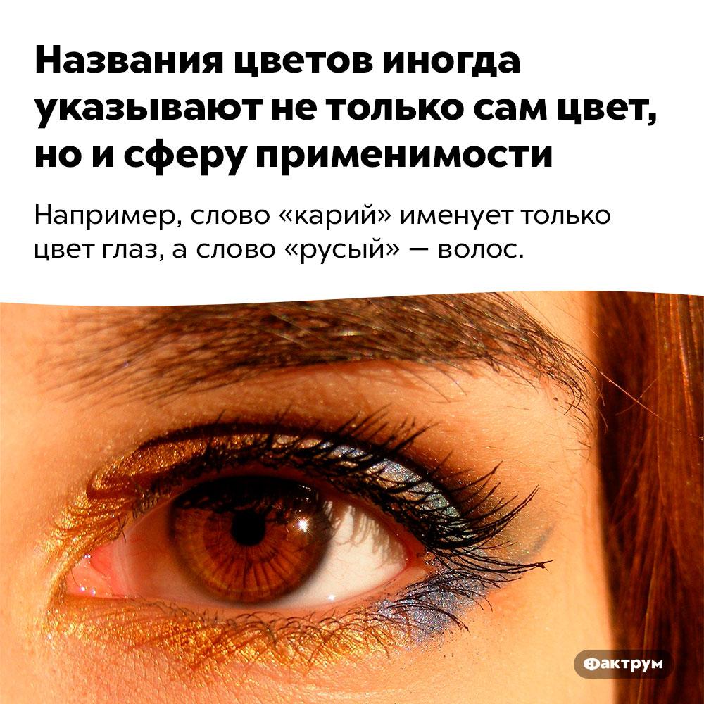 Названия цветов иногда указывают нетолько сам цвет, ноисферу применимости. Например, слово «карий» именует только цвет глаз, а слово «русый» — волос.