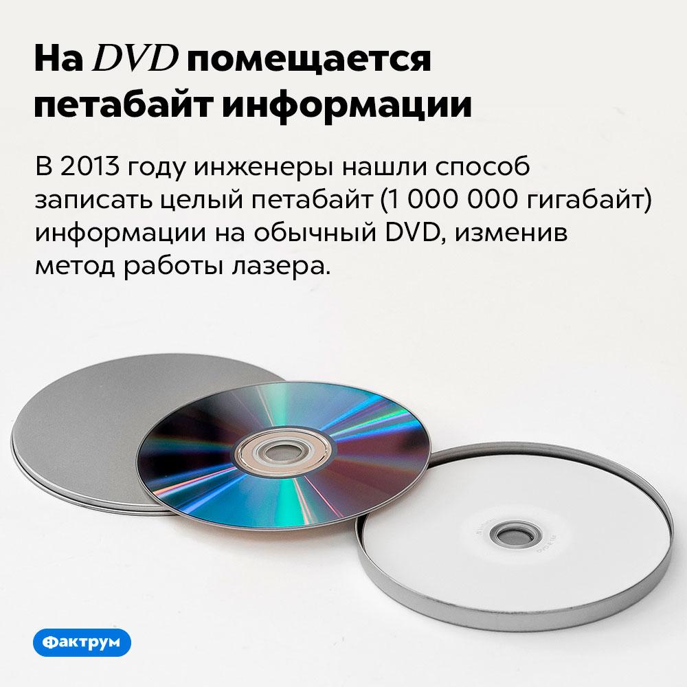 НаDVD помещается петабайт информации. В 2013 году инженеры нашли способ записать целый петабайт (1 000 000 гигабайт) информации на обычный DVD, изменив метод работы лазера.