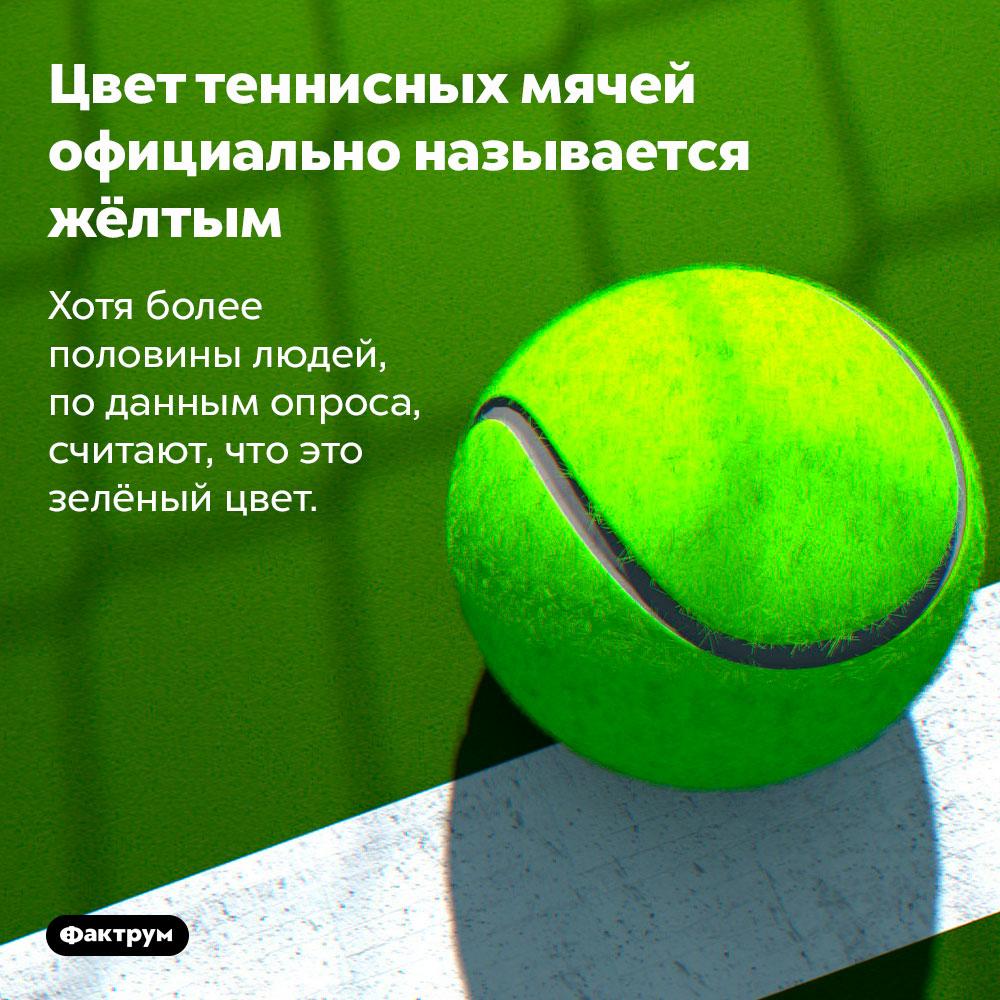 Цвет теннисных мячей официально называется жёлтым. Хотя более половины людей, по данным опроса, считают, что это зелёный цвет.