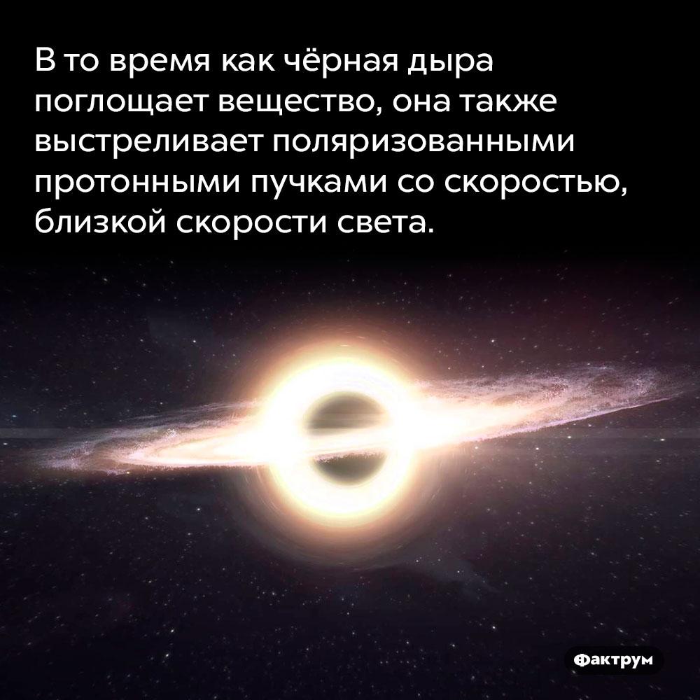 Втовремя как чёрная дыра поглощает вещество, она также выстреливает поляризованными протонными пучками соскоростью, близкой скорости света. В то время как чёрная дыра поглощает вещество, она также выстреливает поляризованными протонными пучками со скоростью, близкой скорости света