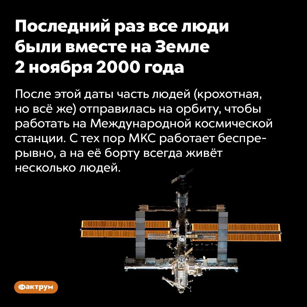Последний раз все люди были вместе наЗемле 2ноября 2000года. После этой даты часть людей (крохотная, но всё же) отправилась на орбиту, чтобы работать на Международной космической станции. С тех пор МКС работает беспрерывно, а на её борту всегда живёт несколько людей.