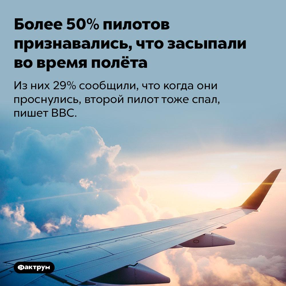 Более 50% пилотов признавались, что засыпали вовремя полёта. Из них 29% сообщили, что когда они проснулись, второй пилот тоже спал, пишет BBC.