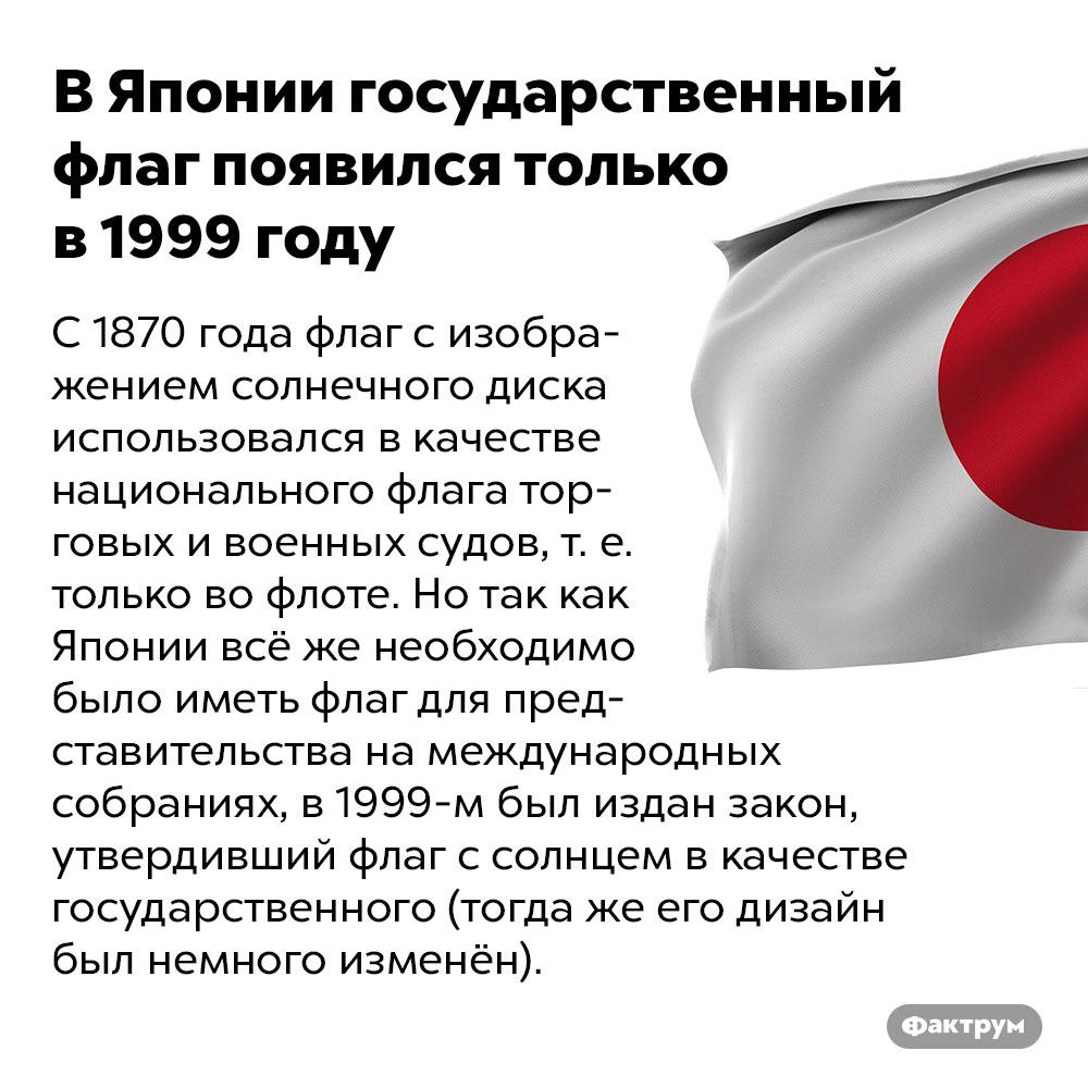 ВЯпонии государственный флаг появился только в1999году. С 1870 года флаг с изображением солнечного диска использовался в качестве национального флага торговых и военных судов, т. е. только во флоте. Но так как Японии всё же необходимо было иметь флаг для представительства на международных собраниях, в 1999 году был издан закон, утвердивший флаг с солнцем в качестве государственного (тогда же его дизайн был немного изменён).