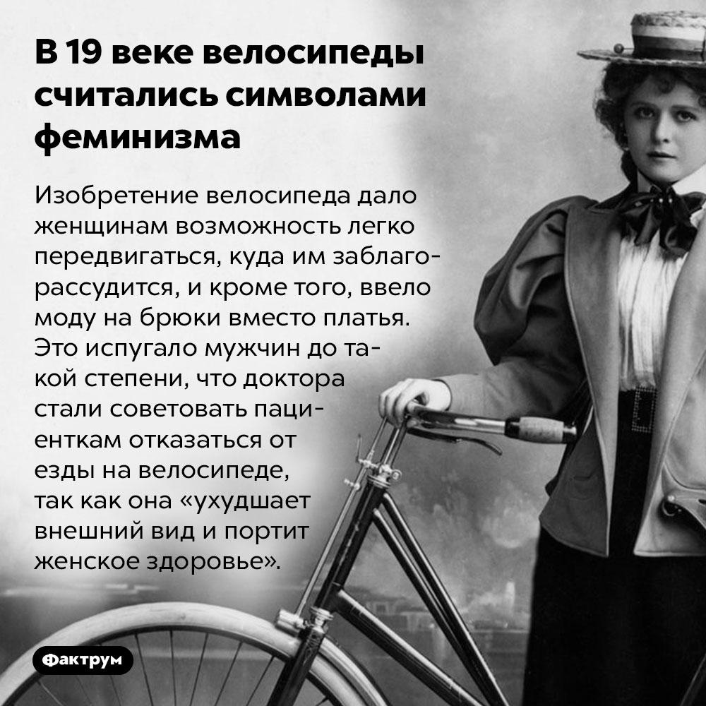 В19веке велосипеды считались символами феминизма. Изобретение велосипеда дало женщинам возможность легко передвигаться, куда им заблагорассудится, и кроме того, ввело моду на брюки вместо платья. Это испугало мужчин до такой степени, что доктора стали советовать пациенткам отказаться от езды на велосипеде, так как она «ухудшает внешний вид и портит женское здоровье».