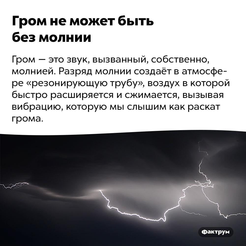 Гром неможет быть без молнии. Гром — это звук, вызванный, собственно, молнией. Разряд молнии создаёт в атмосфере «резонирующую трубу», воздух в которой быстро расширяется и сжимается, вызывая вибрацию, которую мы слышим как раскат грома.