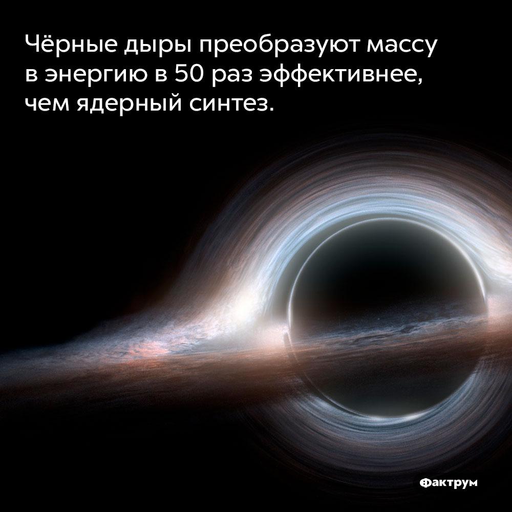 Чёрные дыры преобразуют массу вэнергию в50раз эффективнее, чем ядерный синтез.