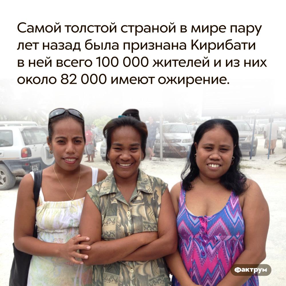 Самой толстой страной вмире пару лет назад была признана Кирибати. В ней всего 100 000 жителей и из них около 82 000 имеют ожирение.
