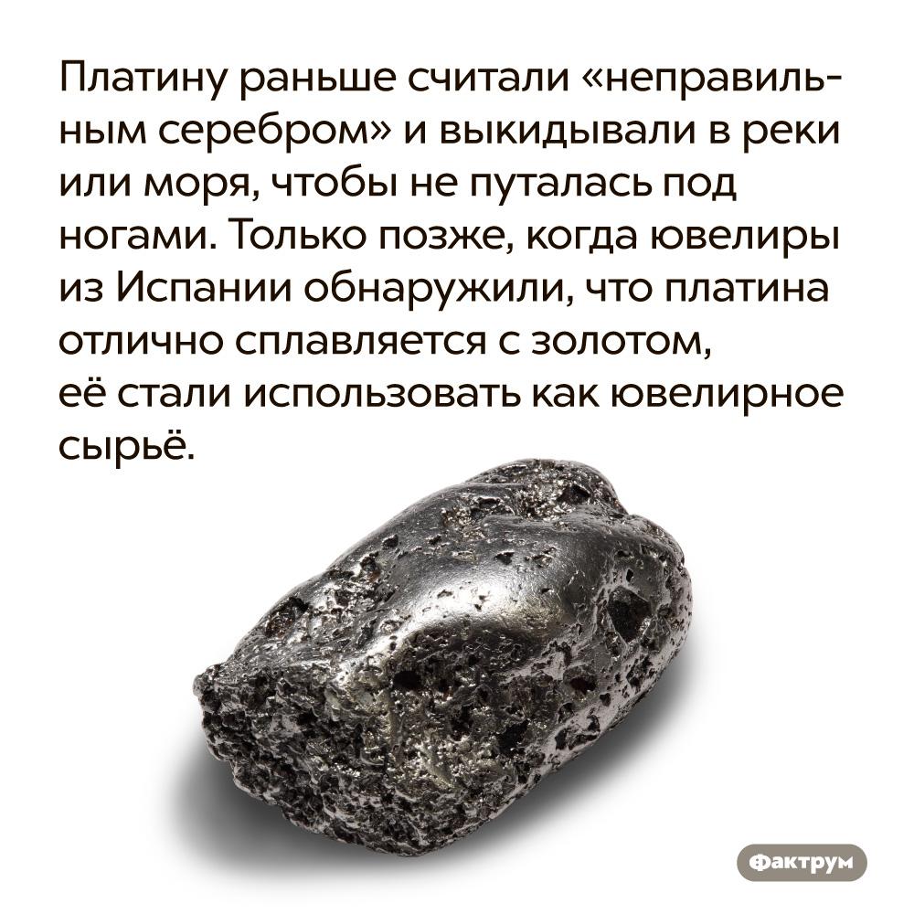 Платину раньше считали «неправильным серебром» ивыкидывали вреки или моря, чтобы непуталась под ногами. Только позже, когда ювелиры из Испании обнаружили, что платина отлично сплавляется с золотом, её стали использовать как ювелирное сырье.