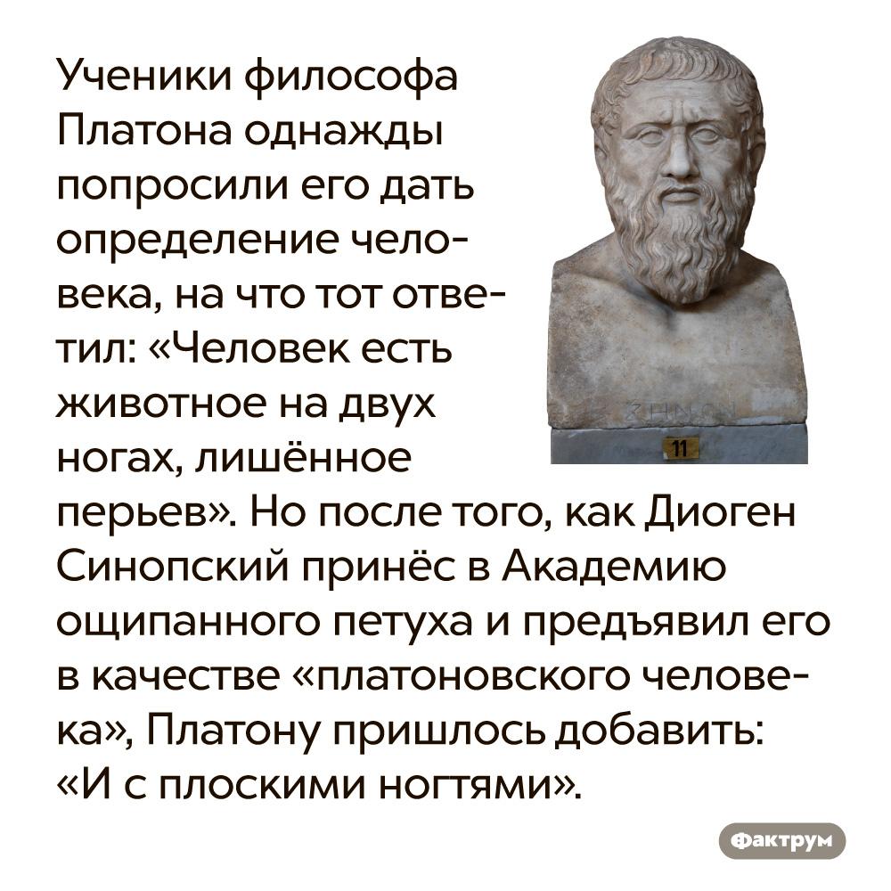 Ученики древнегреческого философа Платона однажды попросили его дать определение человека. На что тот ответил: «Человек есть животное на двух ногах, лишённое перьев». Однако после того, как Диоген Синопский принёс в Академию ощипанного петуха и предъявил его в качестве «платоновского человека», Платону пришлось добавить: «И с плоскими ногтями».