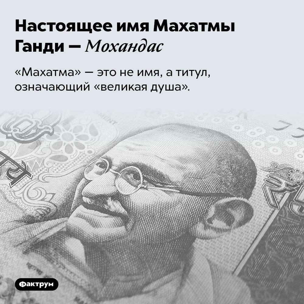 Настоящее имя Махатмы Ганди — Мохандас. «Махатма» — это не имя, а титул, означающий «великая душа».