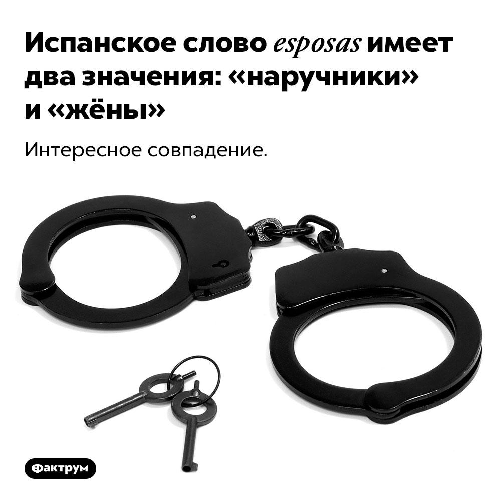 Испанское слово esposas имеет два значения: «наручники» и«жёны». Интересное совпадение.