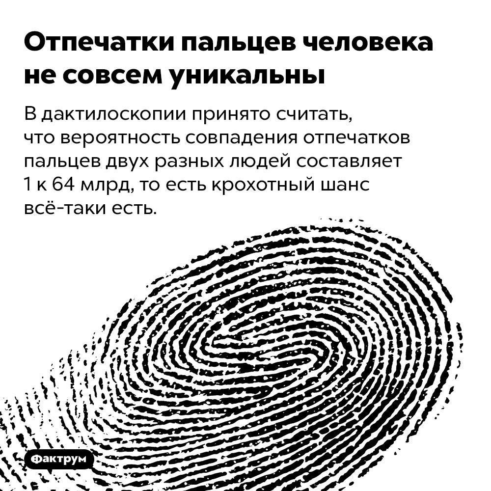 Отпечатки пальцев человека несовсем уникальны. В дактилоскопии принято считать, что вероятность совпадения отпечатков пальцев двух разных людей составляет 1 к 64 млрд, то есть крохотный шанс всё-таки есть.