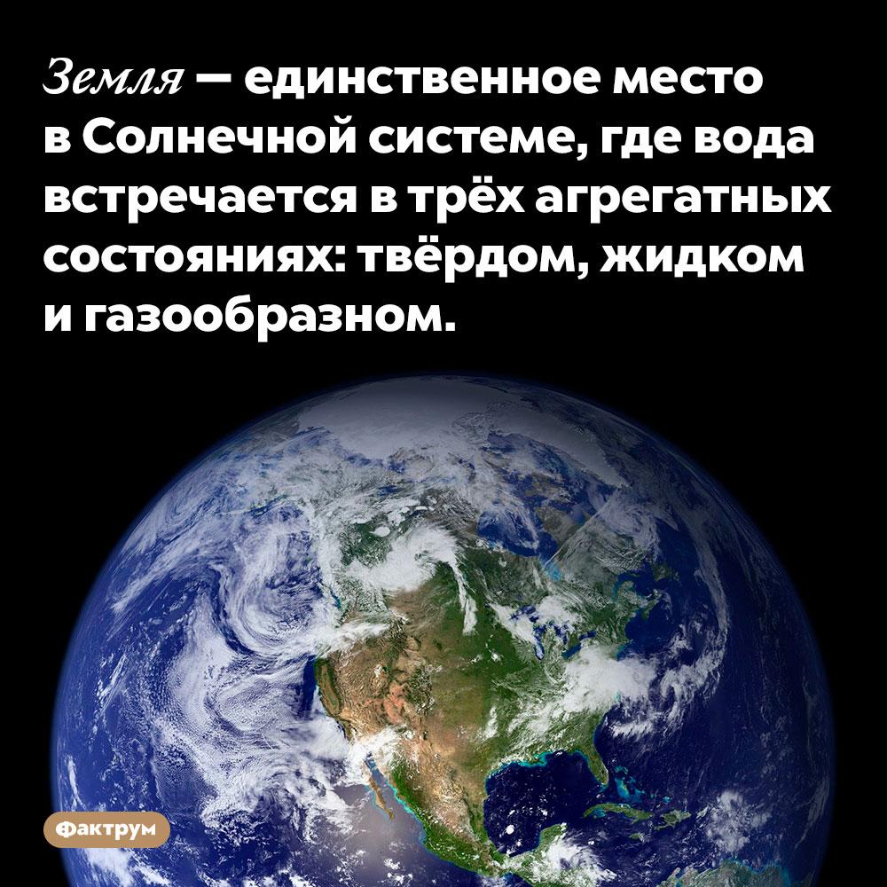 Земля — единственное место вСолнечной системе, где вода встречается втрёх агрегатных состояниях. Твёрдом, жидком и газообразном.