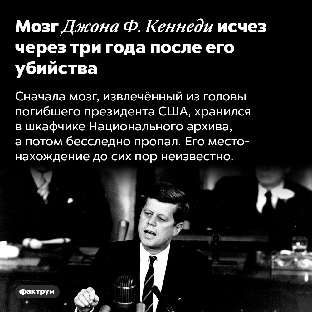 Мозг Джона Ф.Кеннеди исчез через три года после его убийства. Сначала мозг, извлечённый из головы погибшего президента США, хранился в шкафчике Национального архива, а потом бесследно пропал. Его местонахождение до сих пор неизвестно.