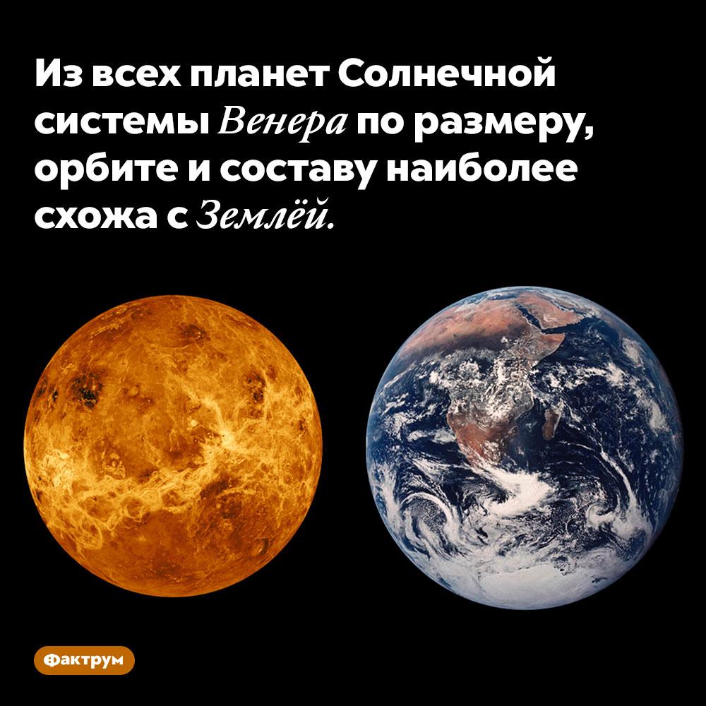 Извсех планет Солнечной системы Венера поразмеру, орбите исоставу наиболее схожа сЗемлёй.