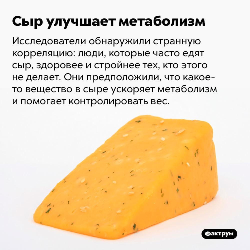 Сыр улучшает метаболизм. Исследователи обнаружили странную корреляцию: люди, которые часто едят сыр, здоровее и стройнее тех, кто этого не делает. Они предположили, что какое-то вещество в сыре ускоряет метаболизм и помогает контролировать вес.