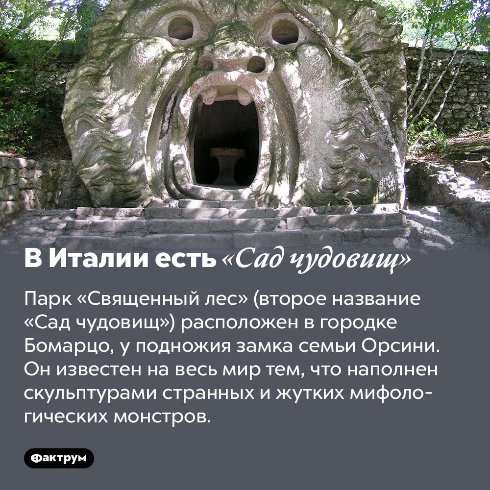 ВИталии есть «Сад чудовищ». Парк «Священный лес» (второе название «Сад чудовищ») расположен в городке Бомарцо, у подножия замка семьи Орсини. Он известен на весь мир тем, что наполнен скульптурами странных и жутких мифологических монстров.