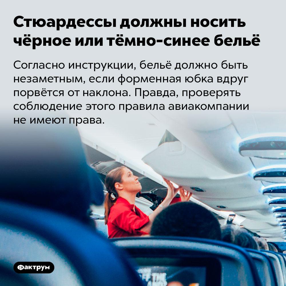Стюардессы должны носить чёрное или тёмно-синее бельё. Согласно инструкции, бельё должно быть незаметным, если форменная юбка вдруг порвётся от наклона. Правда, проверять соблюдение этого правила авиакомпании не имеют права.