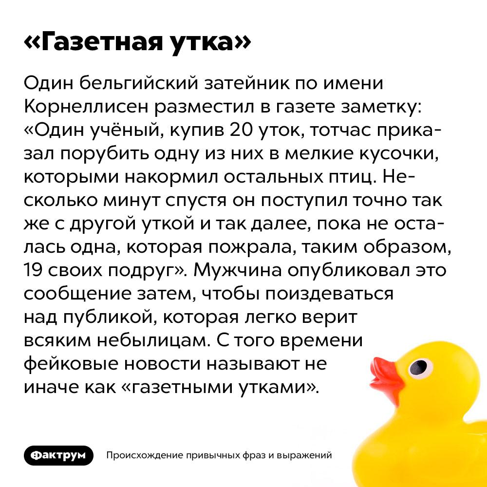 Происхождение фразы «Газетная утка». Один бельгийский затейник по имени Корнеллисен разместил в газете заметку: «Один учёный, купив 20 уток, тотчас приказал порубить одну из них в мелкие кусочки, которыми накормил остальных птиц. Несколько минут спустя он поступил точно так же с другой уткой и так далее, пока не осталась одна, которая пожрала, таким образом, 19 своих подруг». Мужчина опубликовал это сообщение затем, чтобы поиздеваться над публикой, которая легко верит всяким небылицам. С того времени фейковые новости называют не иначе как «газетными утками».