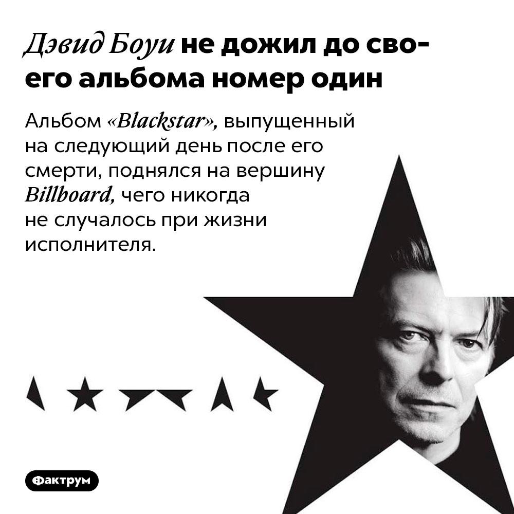 Дэвид Боуи недожил досвоего альбома номер один. Альбом «Blackstar», выпущенный на следующий день после его смерти, поднялся на вершину Billboard, чего никогда не случалось при жизни исполнителя.