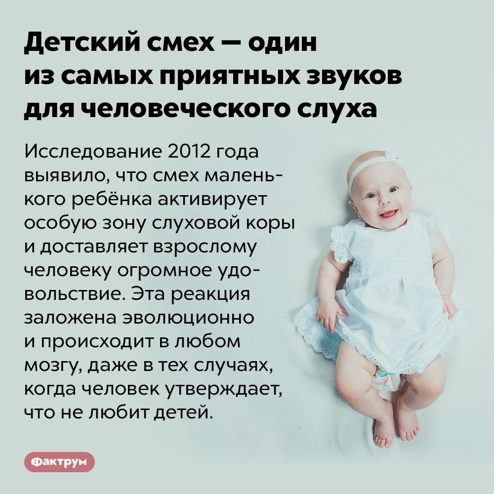 Детский смех — один изсамых приятных звуков для человеческого слуха. Исследование 2012 года выявило, что смех маленького ребёнка активирует особую зону слуховой коры и доставляет взрослому человеку огромное удовольствие. Эта реакция заложена эволюционно и происходит в любом мозгу, даже в тех случаях, когда человек утверждает, что не любит детей.