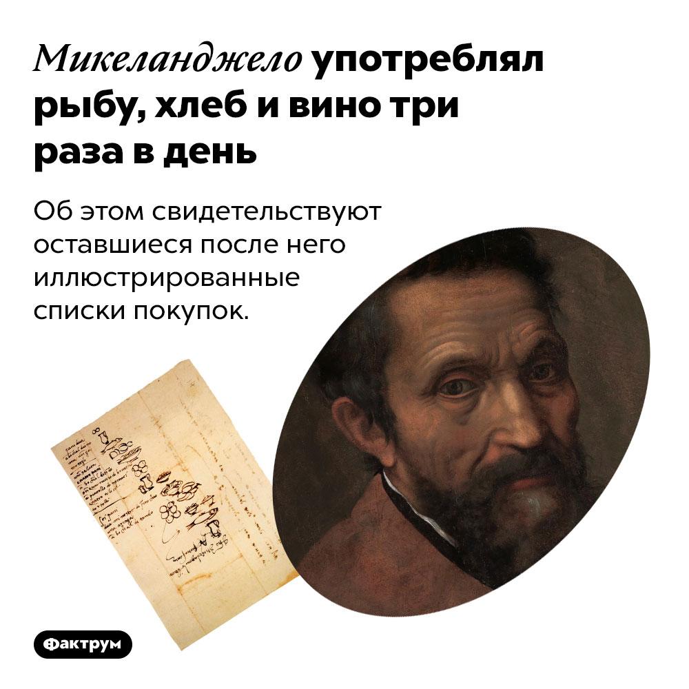Микеланджело употреблял рыбу, хлеб ивино три раза вдень. Об этом свидетельствуют оставшиеся после него иллюстрированные списки покупок.
