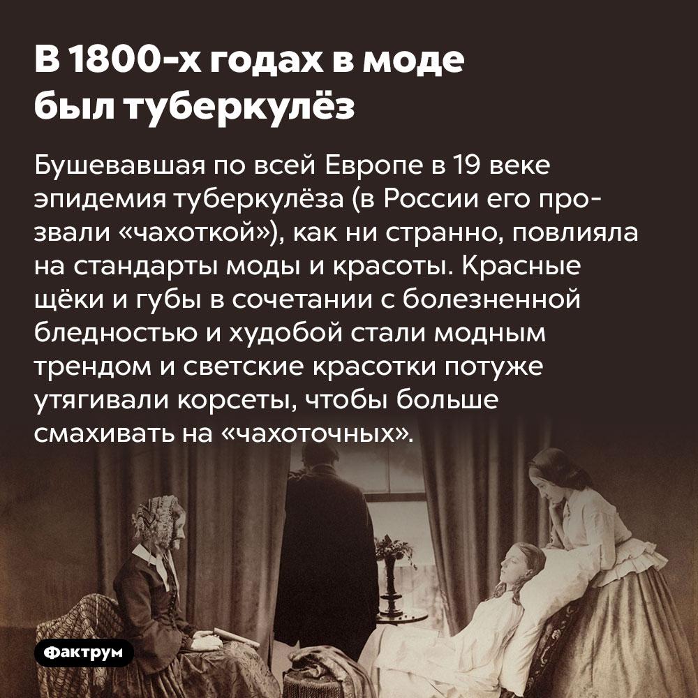В1800-х годах вмоде был туберкулёз. Бушевавшая по всей Европе в 19 веке эпидемия туберкулёз (в России его прозвали «чахоткой»), как ни странно, повлияла на стандарты моды и красоты. Красные щёки и губы в сочетании с болезненной бледностью и худобой стали модным трендом и светские красотки потуже утягивали корсеты, чтобы больше смахивать на «чахоточных».