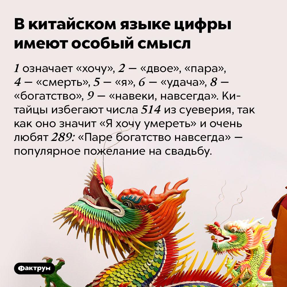Вкитайском языке цифры имеют особый смысл. 1 означает «хочу», 2 — «двое», «пара», 4 — «смерть», 5 — «я», 6 — «удача», 8 — «богатство», 9 — «навеки, навсегда». Китайцы избегают числа 514 из суеверия, так как оно значит «Я хочу умереть» и очень любят 289: «Паре богатство навсегда» — популярное пожелание на свадьбу.