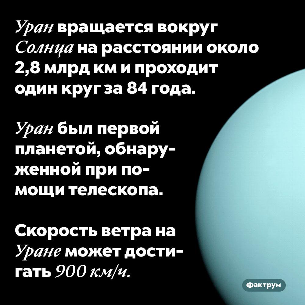 Уран вращается вокруг Солнца нарасстоянии около 2,8млрдкм ипроходит один круг за84года. Уран был первой планетой, обнаруженной при помощи телескопа.  Скорость ветра на Уране может достигать 900 км/ч.